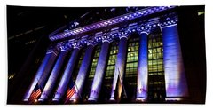 Purple New York Stock Exchange At Night - Impressions Of Manhattan Bath Towel