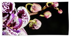 Purple Orchid Reaching Out Bath Towel