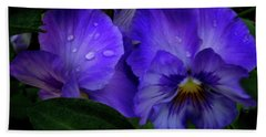 Purple Pansies Bath Towel by Mikki Cucuzzo