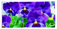 Purple Pansies Hand Towel by Wendy McKennon