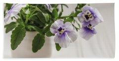 Bath Towel featuring the photograph Purple Pansy Flowers by Kim Hojnacki