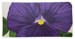 Hand Towel featuring the painting Purple Pansy by Wendy Shoults