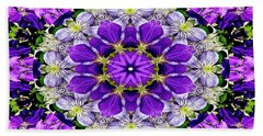 Purple Passion Floral Design Hand Towel by Carol F Austin