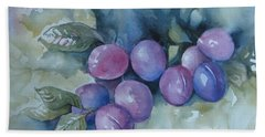 Hand Towel featuring the painting Purple Plums by Elena Oleniuc
