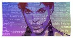 Purple Rain Typography Bath Towel