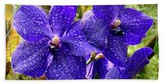 Purple Spotted Orchids Bath Towel