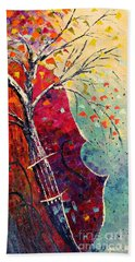 Bath Towel featuring the painting Purple Symphony by AmaS Art