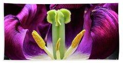 Purple Tulip Macro Bath Towel by Darleen Stry