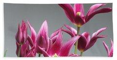 Purple Tulips Hand Towel by Helen Northcott