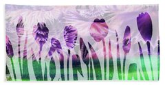 Purple Tulips Watercolor Silhouette Hand Towel