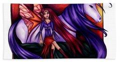 Purple Unicorn With Fairy Friend Hand Towel