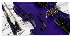 Purple Violin And Music V Hand Towel