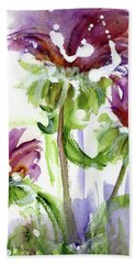 Hand Towel featuring the painting Purple Wildflowers by Dawn Derman
