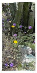 Purple Yellow Flowers Green Cactus Hand Towel