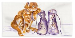 Puss 'n Boots Hand Towel by Debra Hall