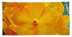 Bath Towel featuring the photograph Put On A Happy Face Yellow Orchids by Sue Melvin