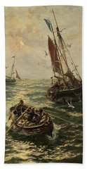 Putting The Catch Ashore Hand Towel by Thomas Rose Miles