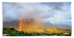 Puu Alii With Rainbow Hand Towel by Dan McManus