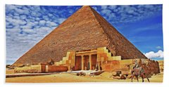 Bath Towel featuring the painting Pyramid by Harry Warrick