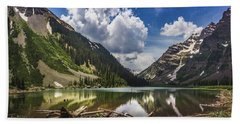 Pyramid Peak, Maroon Bells, And Crater Lake Panorama Hand Towel