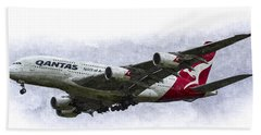 Qantas Airbus A380 Art Hand Towel