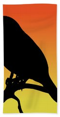 Quail Silhouette At Sunset Bath Towel