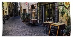 Quaint Cobblestones Streets In Rome, Italy Bath Towel