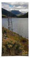Quake Lake Hand Towel by Cindy Murphy - NightVisions