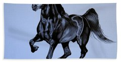 The Black Quarter Horse In Bic Pen Bath Towel by Cheryl Poland