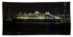 Queen Mary 2 At Night In Liverpool Hand Towel