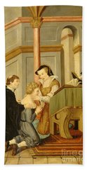 Queen Mary I Curing Subject With Royal Hand Towel by Wellcome Images