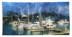 Hand Towel featuring the photograph Queensland Marina by Claire Bull