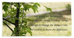 Hand Towel featuring the photograph Quiet Thoughts Serenity Prayer  by Jennifer Muller