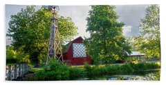 Quilt Barn And Windmill At Bonneyville Mill Bath Towel