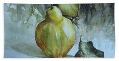Hand Towel featuring the painting Quince... by Elena Oleniuc