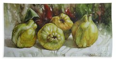 Hand Towel featuring the painting Quinces by Elena Oleniuc
