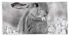 Rabbit Eating Flowers Bath Towel