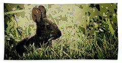 Rabbit In Meadow Hand Towel