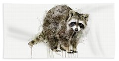 Raccoon Hand Towel by Marian Voicu