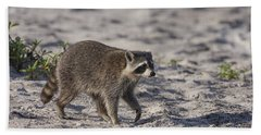 Raccoon On The Beach Bath Towel