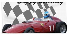 Racing Car Birthday Card 2 Bath Towel by John Colley