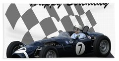 Racing Car Birthday Card 8 Bath Towel by John Colley
