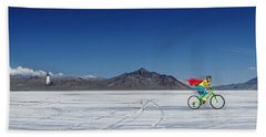 Racing On The Bonneville Salt Flats Bath Towel