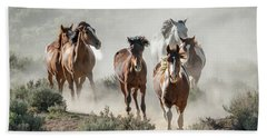 Racing To The Water Hole Hand Towel