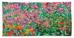 Bath Towel featuring the painting Radford Flower Garden by Kendall Kessler