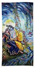 Radha Krishna Jhoola Leela Hand Towel by Harsh Malik