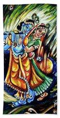 Hand Towel featuring the painting Radhe Krishna by Harsh Malik