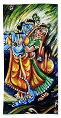 Bath Towel featuring the painting Radhe Krishna by Harsh Malik