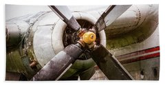 Bath Towel featuring the photograph Radial Engine And Prop - Fairchild C-119 Flying Boxcar by Gary Heller