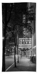 Radio City Music Hall Black And White With Trees Hand Towel